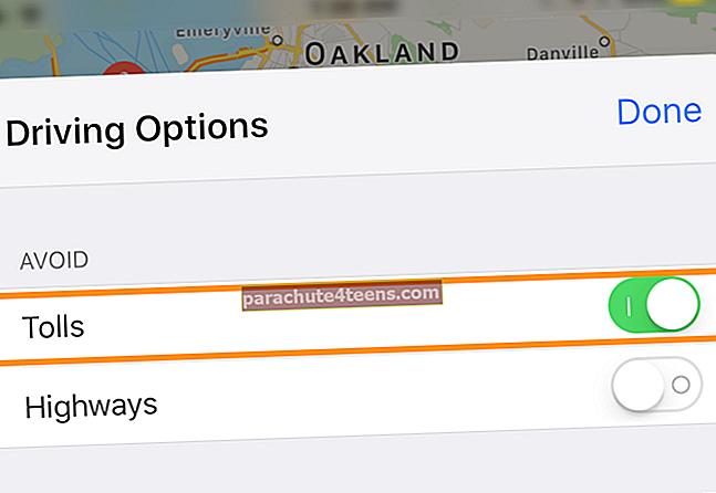 Kuinka välttää maksuja ja moottoriteitä Maps-sovelluksella iPhonessa