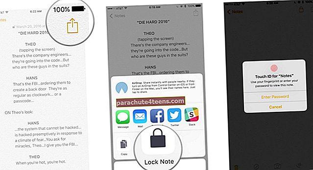 Märkmete lukustamine iPhone'is ja iPadis
