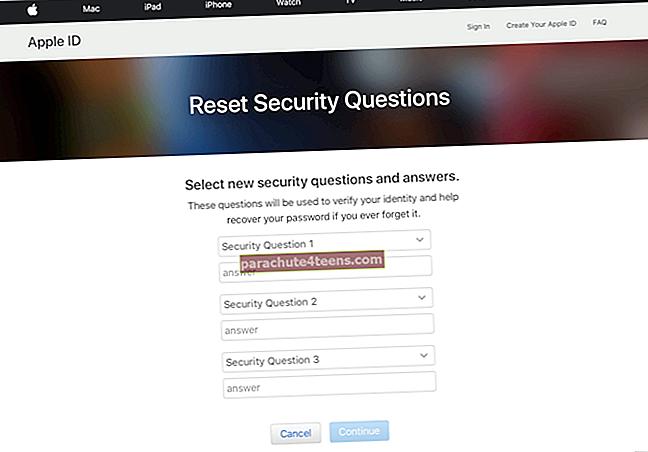 Kuinka vaihtaa Apple ID -turvakysymyksiä